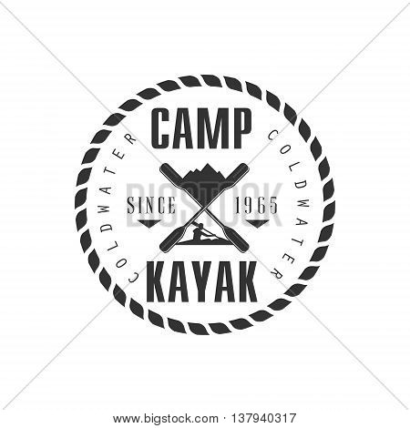 Camp KAyak Emblem Classic Style Vector Logo With Calligraphic Text On White Background