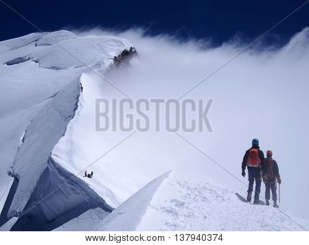 Final summit of Mont Blanc in France