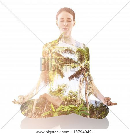 Double exposure of young woman practicing yogaand nature. Nature harmony healthy lifestyle concept