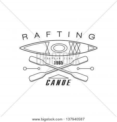 Rabting Canoe Club Emblem Classic Style Vector Logo With Calligraphic Text On White Background