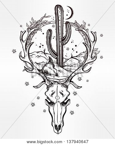 Hand drawn romantic flash tattoo style desert landscape in deer skull with cactus and moon. Spiritual cacti art. Vector illustration isolated. Ethnic design, mystic tribal boho symbol for your use.