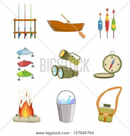Fishing And Camping Equipment Set Of Simple Design Illustrations In Cute Fun Cartoon Style Isolated On White Background