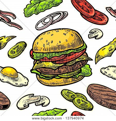 Seamless pattern burger and ingredients include cutlet tomato cucumber and salad. Vector vintage engraving illustration for poster menu web banner info graphic. Isolated on white background.