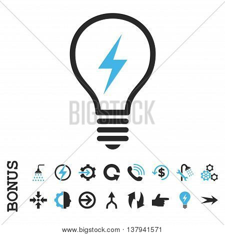Electric Bulb vector bicolor icon. Image style is a flat pictogram symbol, blue and gray colors, white background.