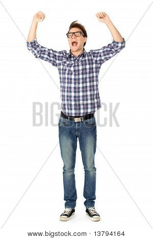Young man clenching fists and shouting
