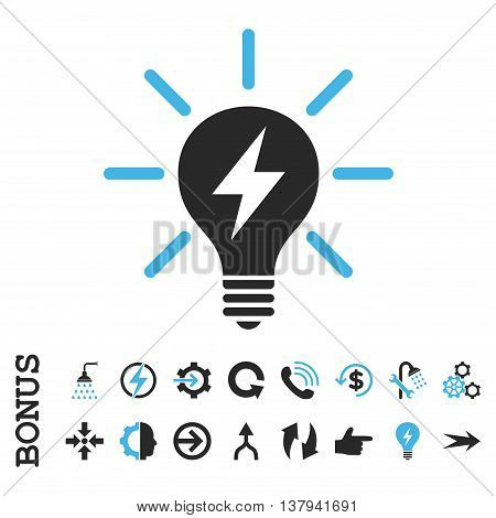 Electric Light Bulb vector bicolor icon. Image style is a flat pictogram symbol, blue and gray colors, white background.