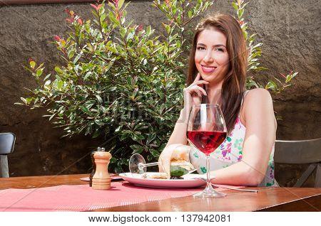 Smiling Lady Having Fancy Lunch Outside On Terrace