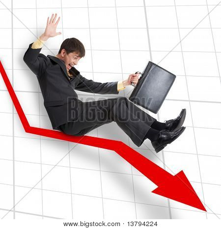 A businessman moving down on an arrow