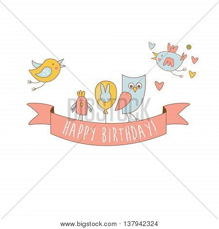 Birds On Happy Birthday Party Banner Light Color Flat Cute Illustration In Childish Outlined Vector Design