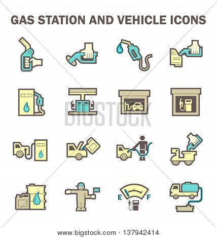 Gas station and services vector icon sets isolated on white background.