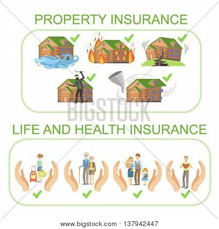 Property, Life And Health Insurance Infographic Poster In Simple Flat Bright Color Style On White Background