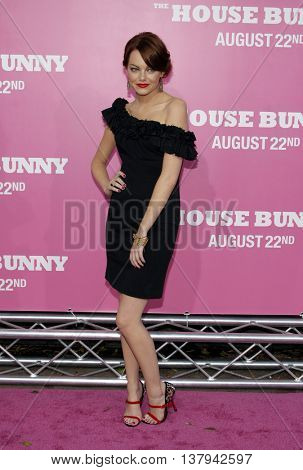 Emma Stone at the Los Angeles premiere of 'The House Bunny' held at the Mann Village Theater in Westwood, USA on August 20, 2008.