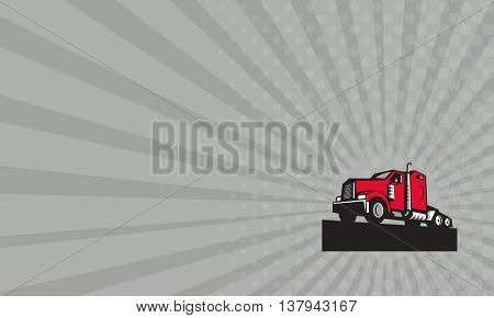 Business card showing illustration of a semi truck tractor set on isolated white background viewed from low angle done in retro style.