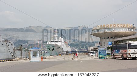 NOVOROSSIYSK, RUSSIA-JUNE 30, 2013. Sea terminal in Novorossiysk. Novorossiysk is a large industrial city in the South of Russia
