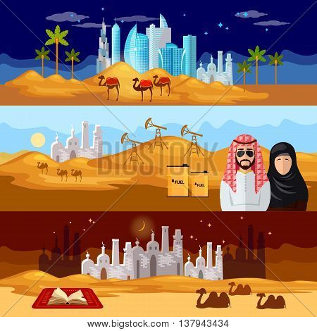 Tradition and culture in muslim countries banner dubai landscape oil industry journey to the east sheikh in desert vector illustration