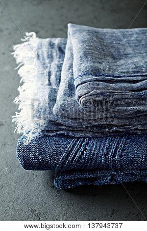Indigo cloths ( linen and cotton,)