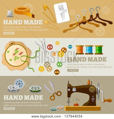 Tailor banners hand made concept tailoring tools fashion houses atelier clothing vector illustration