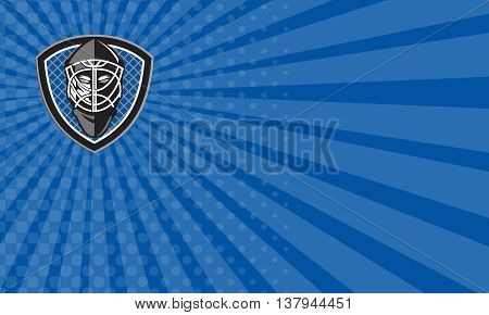 Business card showing illustration of a ice hockey goalie helmet set inside shield crest with net on the background done in retro style.