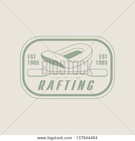 Rafting Emblem Classic Style Vector Logo With Calligraphic Text On White Background