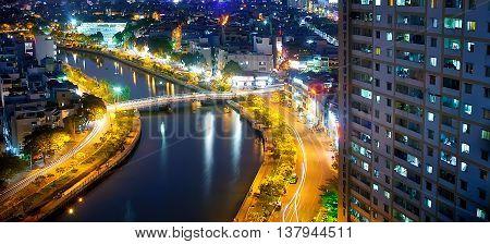 SAI GON, VIET NAM, April 28, 2016 Nhieu Loc canal, downtown Sai Gon, evening