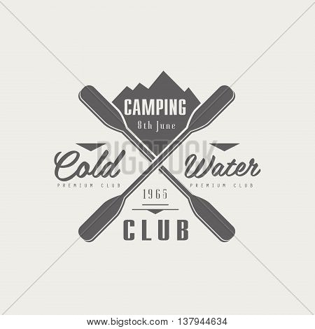 Coldwater Camping Club Emblem Classic Style Vector Logo With Calligraphic Text On White Background