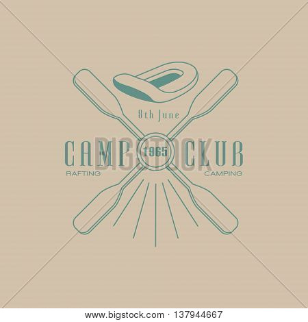 Rafting Camp Club Emblem Classic Style Vector Logo With Calligraphic Text On White Background