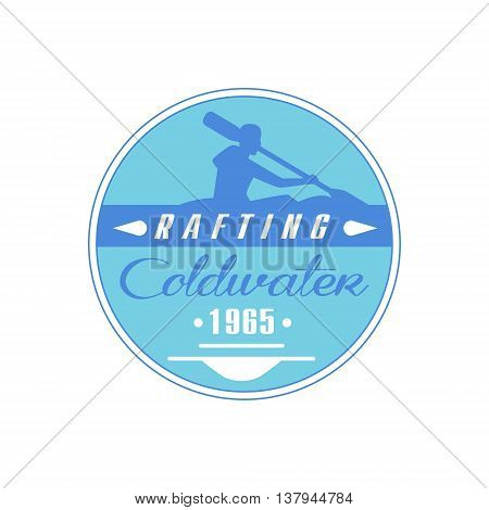 Rafting Coldwater Blue Emblem Classic Style Vector Logo With Calligraphic Text On White Background