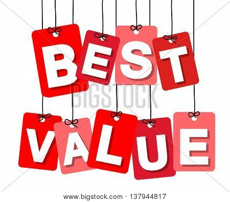 Vector colorful hanging cardboard. Tags - best value on white background