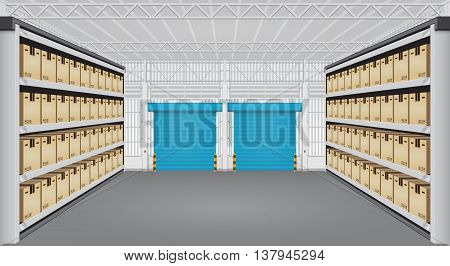 Vector of box on rack and warehouse building.