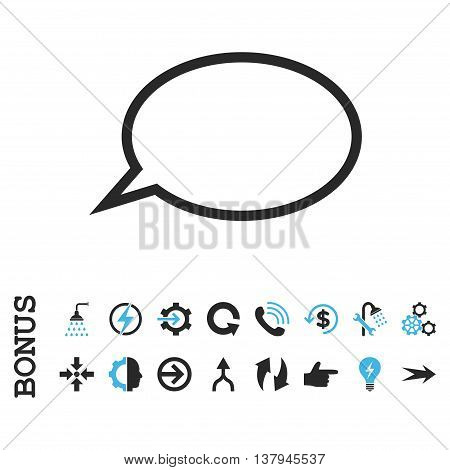 Hint Cloud vector bicolor icon. Image style is a flat iconic symbol, blue and gray colors, white background.