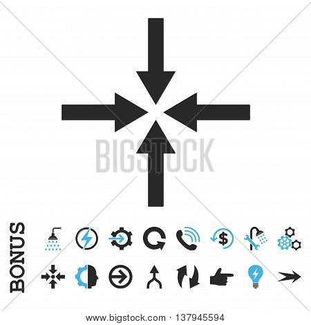 Impact Arrows vector bicolor icon. Image style is a flat iconic symbol, blue and gray colors, white background.