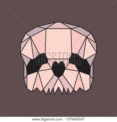 Pink and beige low poly skull. Geometric line art