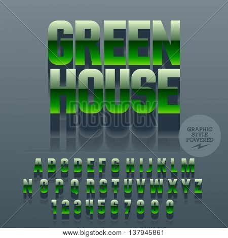 Set of slim glossy plastic alphabet letters, numbers and punctuation symbols. Vector reflective green sign with text Green house. File contains graphic styles