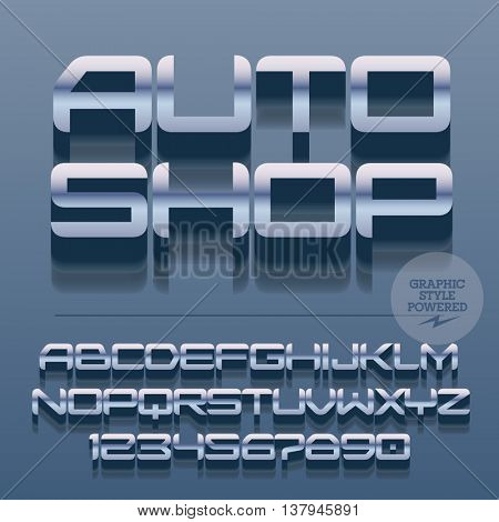 Set of slim glossy silver alphabet letters, numbers and punctuation symbols. Vector reflective stylish sign with text Auto shop. File contains graphic styles