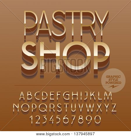 Set of slim glossy golden alphabet letters, numbers and punctuation symbols. Vector reflective elegant emblem with text Pastry shop. File contains graphic styles