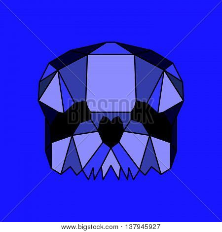 Violet low poly skull. Geometric line art