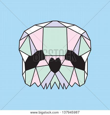 Pastel low poly skull. Geometric line art