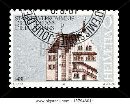SWITZERLAND - CIRCA 1981 : Cancelled postage stamp printed by Switzerland, that shows Ancient town hall.