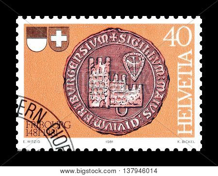 SWITZERLAND - CIRCA 1981 : Cancelled postage stamp printed by Switzerland, that shows City seal of Freiburg.