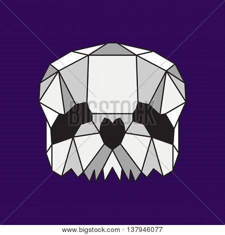 Grey low poly skull. Geometric line art
