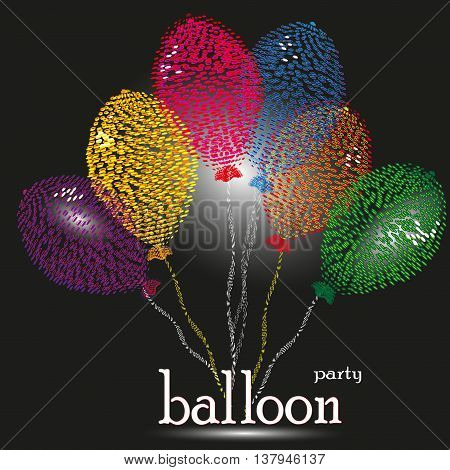 Party balloon vector illustration Drawing balloon party in the style of pointillism six object with highlight color with an inscription on a black background