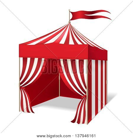 Vector circus or carnival tent for outdoor party on white background