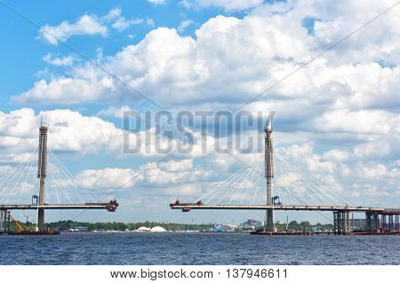 Construction of the cable-stayed bridge across the river Neva St. Petersburg.