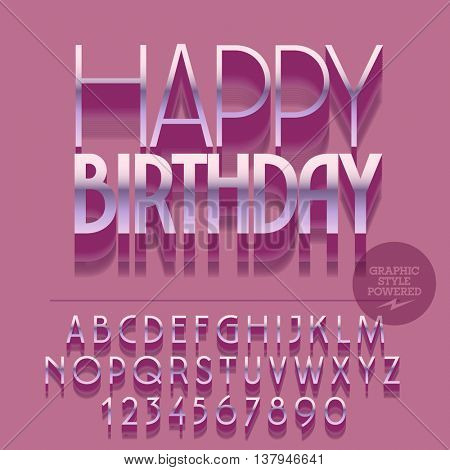 Set of slim glossy silver alphabet letters, numbers and punctuation symbols. Vector reflective greeting card with text Happy birthday. File contains graphic styles