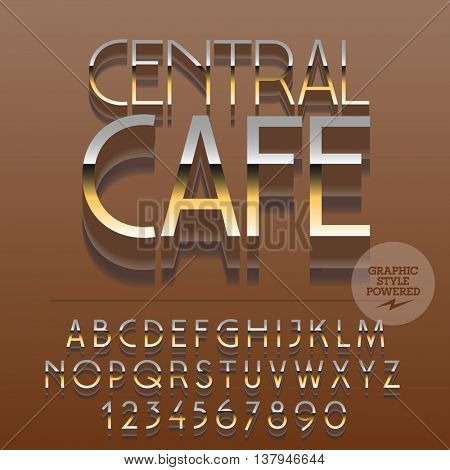 Set of slim glossy golden alphabet letters, numbers and punctuation symbols. Vector reflective modern emblem with text Central cafe. File contains graphic styles