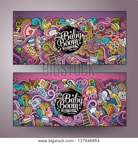 Cartoon colorful vector hand drawn doodles baby boom corporate identity. 2 Horizontal banners design. Templates set