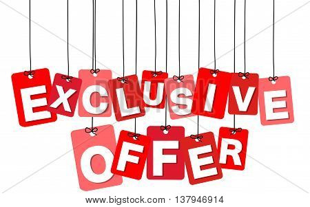 Vector colorful hanging cardboard. Tags - exclusive offer on white background