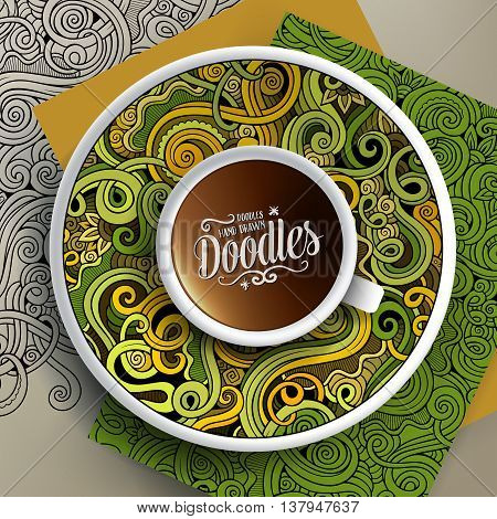 Vector illustration with a Cup of coffee and hand drawn curls, swirls doodles on a saucer, on paper and on the background