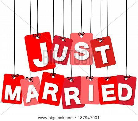 Vector colorful hanging cardboard. Tags - just married on white background