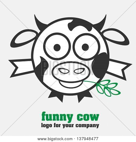 Funny cow logotype logo in the form of a round cow with spots in a humorous style for the company or for design